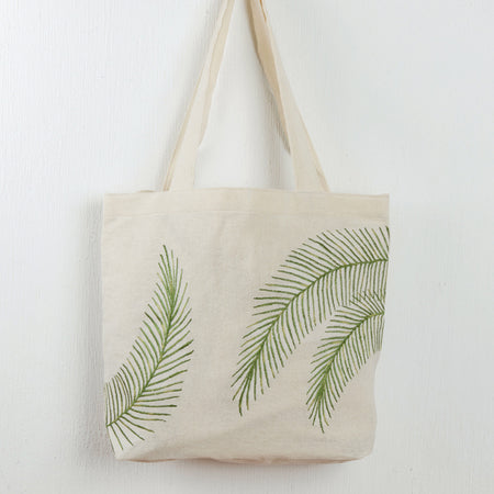 Embroidered Palm Tote