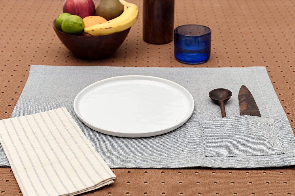 MEEMA - Placemats with Pocket / Denim Blue: Set of 4