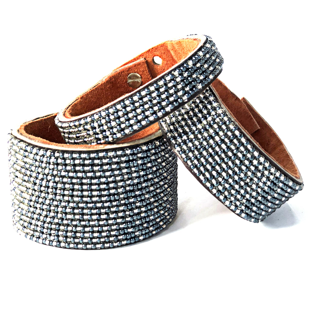 Swahili Coast - Large Silver and Slate Ombre Cuff