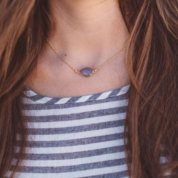 Grey Teardrop Necklace by The Shine Project