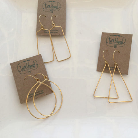 Recycled Brass Shapes Dangle Earrings - Mimosa Goods