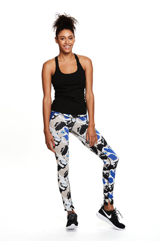 Mantra Legging in Blue Paint Print - Mimosa Goods - 1