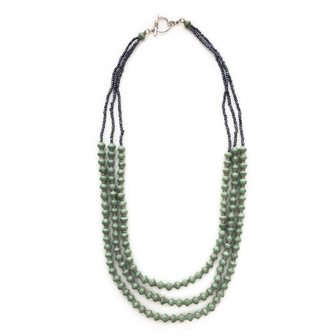3 Strand Paper Bead Necklace in Meadow Green