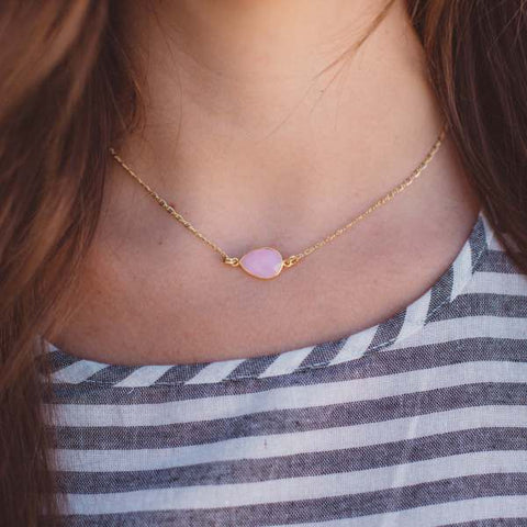 Pink Teardrop Necklace by The Shine Project