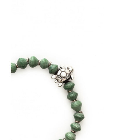 Meadow Green Recycled Paper Bead Bracelet - Sea Turtle