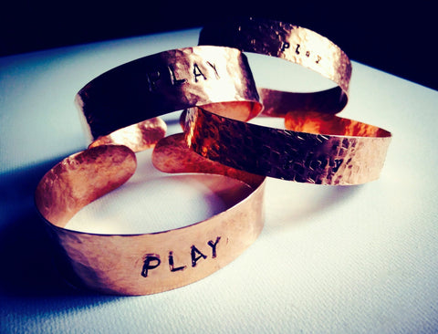 "Wide Hammered Copper Cuff Handstamped - ""PLAY"" - Mimosa Goods"