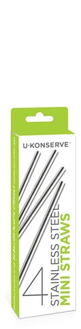 Set of 4 - Stainless Steel Mini Straws