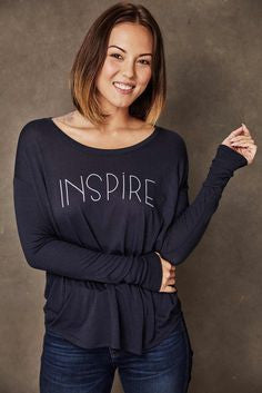 Sudara Inspire Long Sleeve Tee in Navy - Mimosa Goods