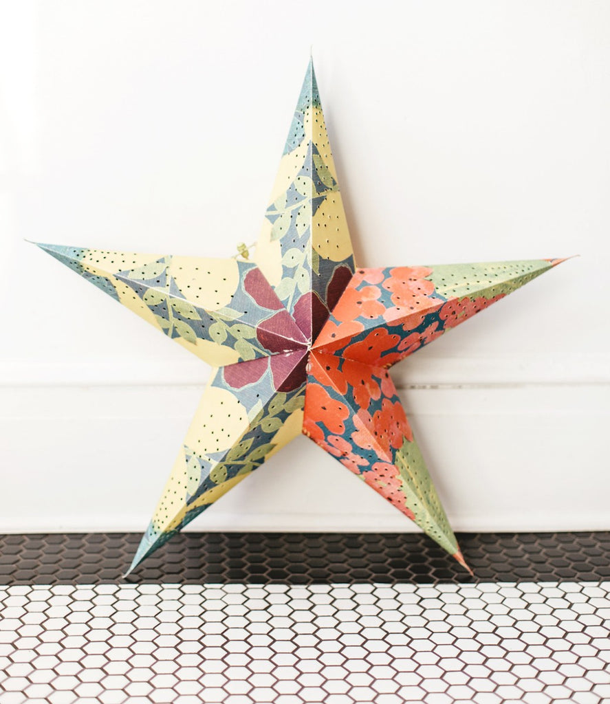 "22"" Tropical Print Paper Star Lantern"