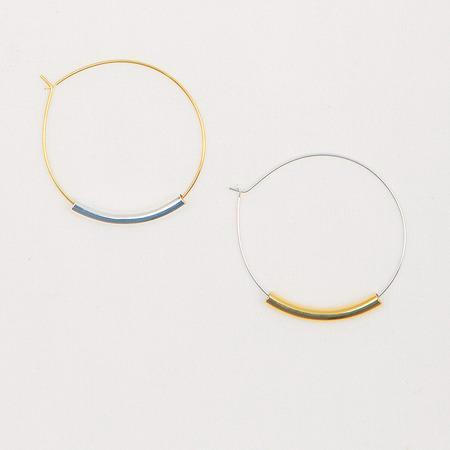 Mixed Metal Tube Hoop Earrings