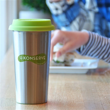 Double-Walled Stainless Steel Insulated Cup - Lime Lid