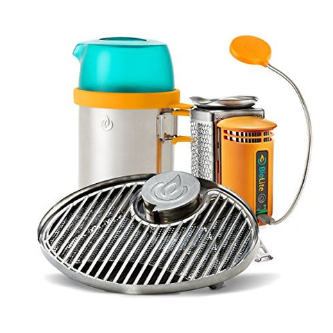 BioLite CampStove Bundle w/ CampStove, Portable Grill and KettlePot Attachments and USB FlexLight - Outdoor Gear