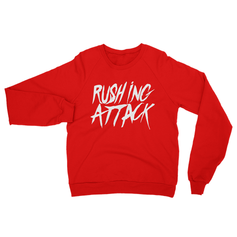 Rushing Attack - White Print - Crew Neck Sweatshirt