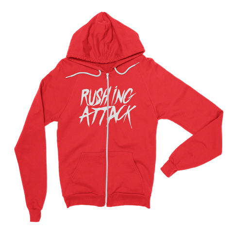 Rushing Attack - White Print - Zip Up Hoodie