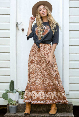 Ash Rose Maxi Skirt- Cinnamon