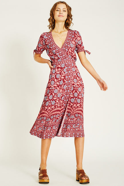 Marigold Wrap Dress - Rhubarb