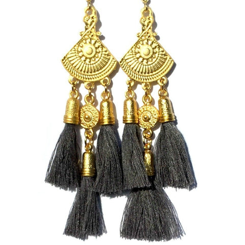Sahana Earrings- Dark Grey