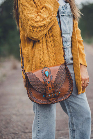 Huipil Leather Laced Fringe Bag