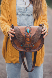 Turquoise Dreaming Hand Tooled Leather Bag - 1
