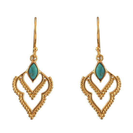 E496TQG - Gold Manifest Turquoise Earrings