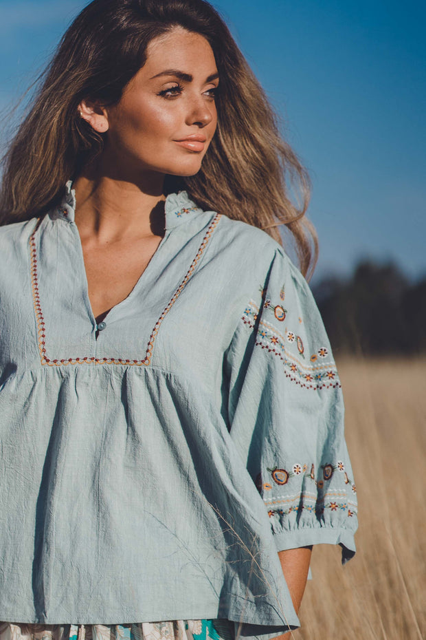 Embroidered Folk Blouse - Sky Blue
