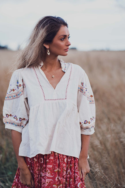 Embroidered Folk Blouse - Natural