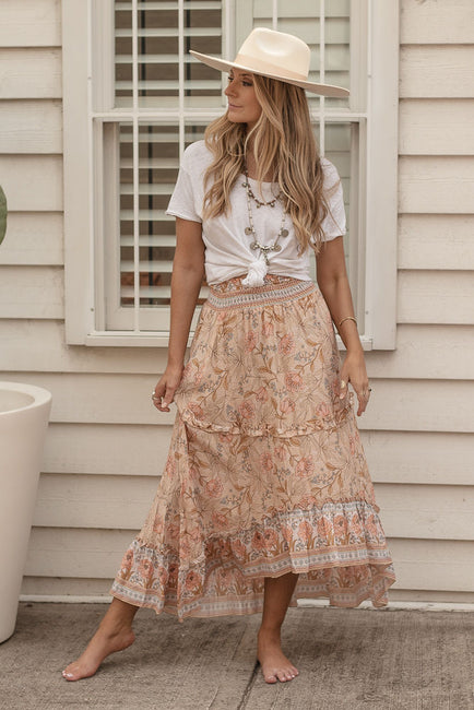 Summer Romance Maxi Skirt - Blush