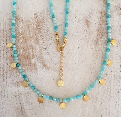 Isla Necklace- Amazonite Gold