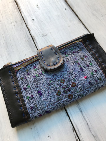 Hmong Leather Wallet- Light Blue