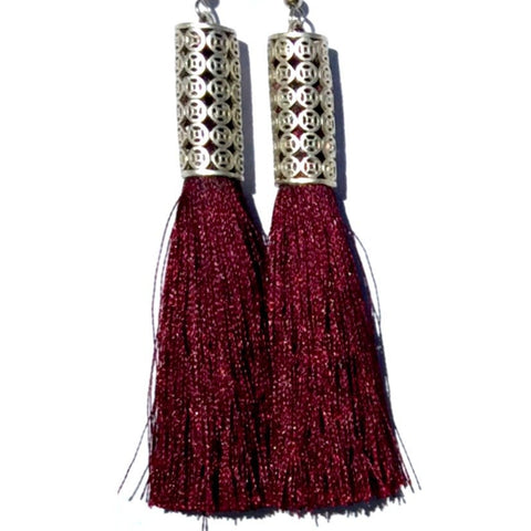 Allegra Tassel Earrings- Berry