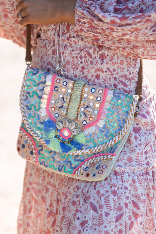 Lisha Bag - Mint/Pink