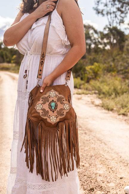 Desert Flower Saddle Bag with Turquoise - Caramel