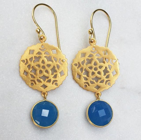 Indian Star Earrings - Blue