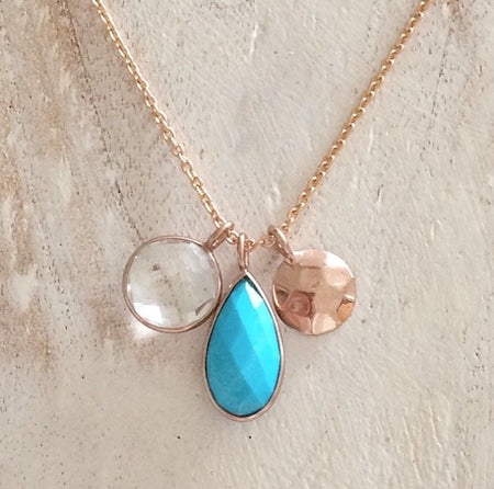 Wanderlust Necklace- Rose Gold & Turquoise