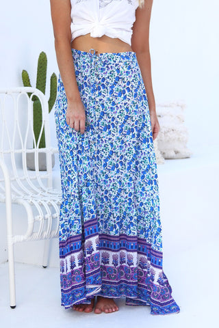 Ohana Button Down Maxi Skirt - Ocean