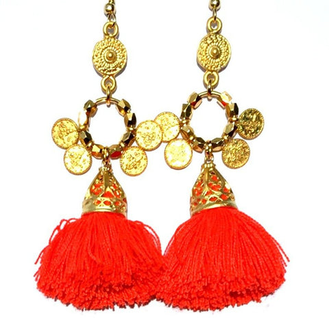 Sarita Earrings- Neon Tangerine