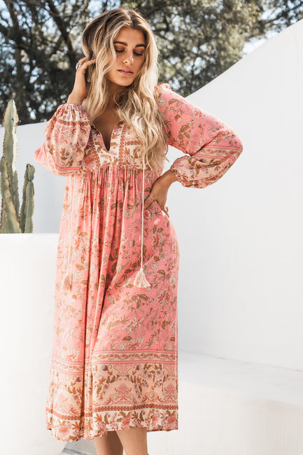 Arabella Tunic Dress - Flamingo