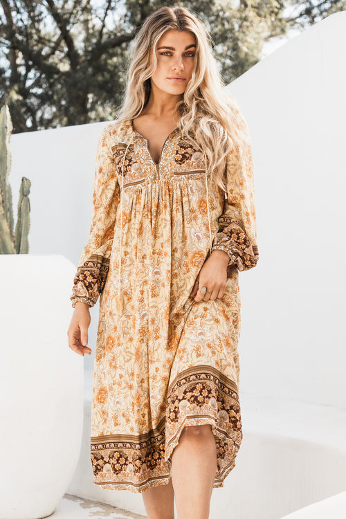 Arabella Tunic Dress - Golden Leaves