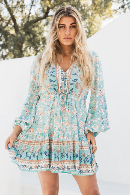 Frankie Mini Dress - Batik Sky