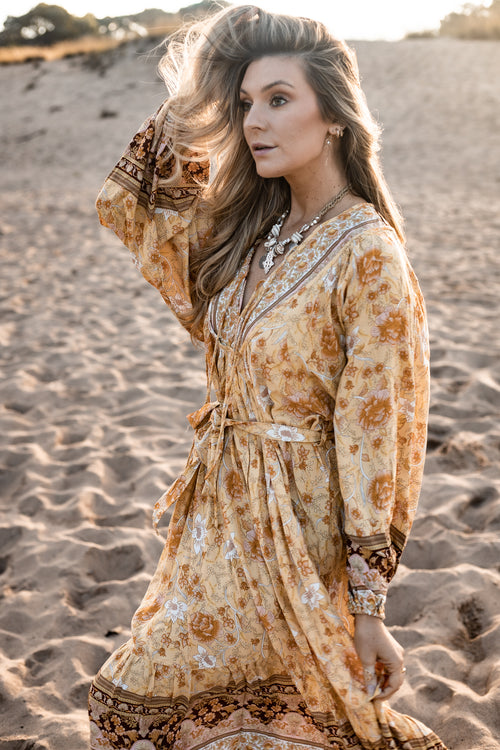Gypset Midi Dress - Golden Leaves