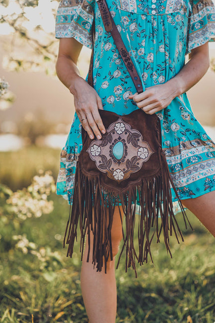 Desert Flower Saddle Bag with Turquoise - Chocolate