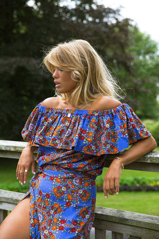 Botanical Blouse - Cobalt