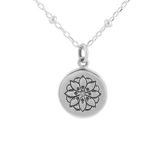 N410 - Sunflower Mandala Medallion Necklace