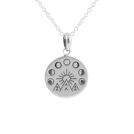 N417 - Moon & The Mountains Medallion Necklace