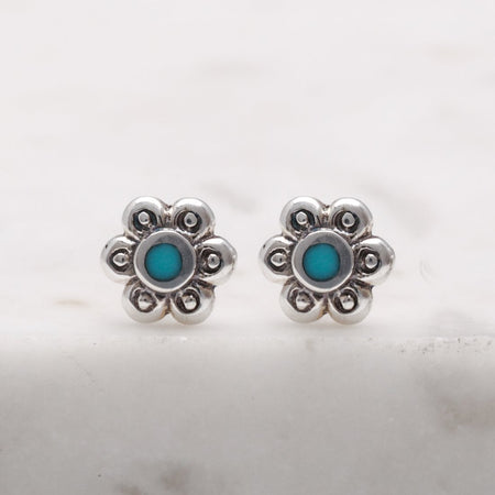 S452TQ - Dainty Blossom Turquoise Studs