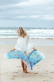 Cotton Beach Towel - Turquoise Tile