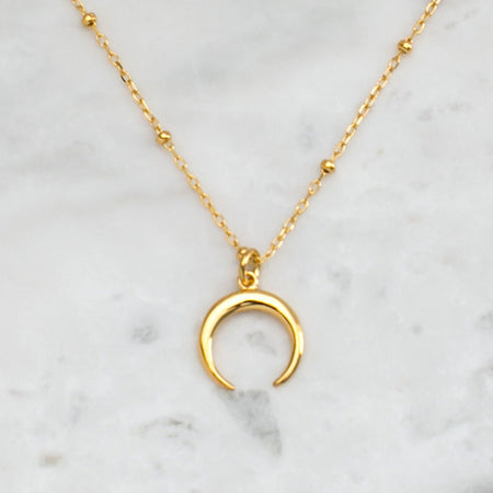 N397G - Gold Petite Moon Illusion Necklace