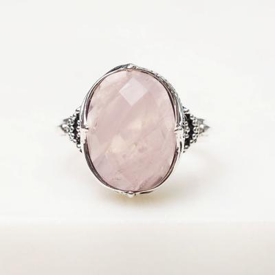 R807RQ - Frozen Wonderland Ring Rose Quartz