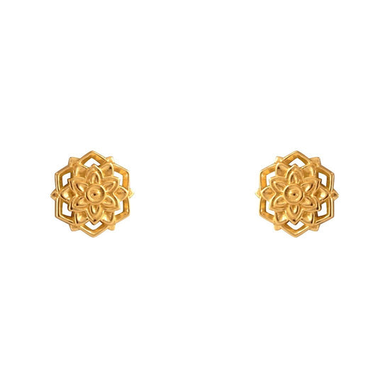 S522G - Gold Morning Flower Studs