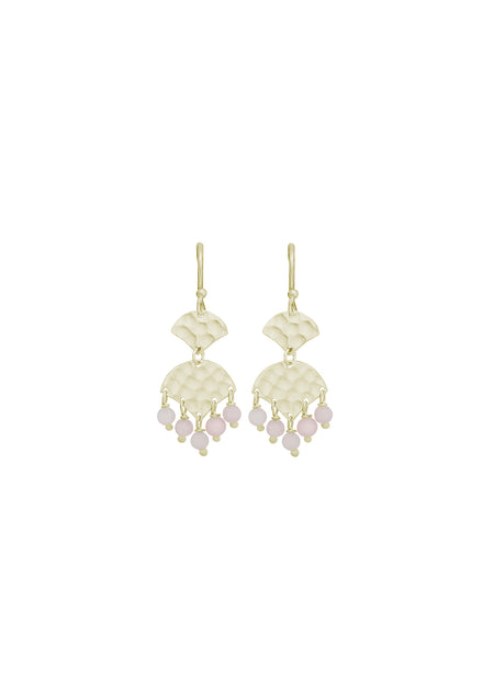 Sasha Earring - Soft Gold/Rose Quartz